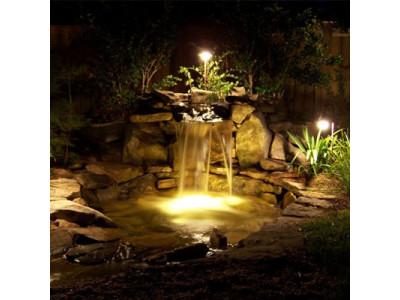 Проводим освещение к пруду